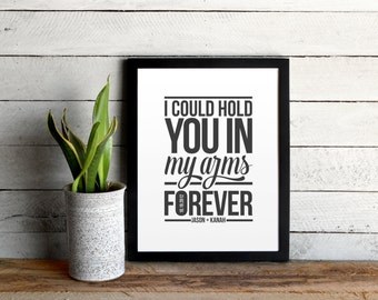Ray LaMontagne Custom Poster - Hold You In My Arms Lyrics Graphic Print - Personalized with Names and Anniversary Date