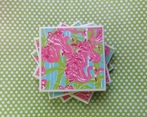 Coasters Lilly Pulitzer Print Fan Dance, Flamingo Pattern, Felt-Backed Tile Set of Four