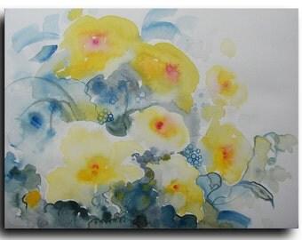 "12""X9"" Art Original Watercolor painting Easter Lilies  Abstract Painting on paper - Watercolor painting spring celebrations flowers"