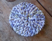 Knitted Dish Cloth Scrubbie LOOM KNITTING - Hand Made, Cotton Yarn, Tulle - Grape, Ombre' and White / Kitchen or Shower