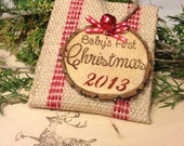 Rustic Baby's First Christmas Ornament with Keepsake Bag by Burlap and Linen Co