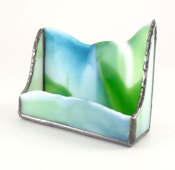 Unique Desktop Business Card Holder - Desk Accessories - Stained Glass - Blue Green