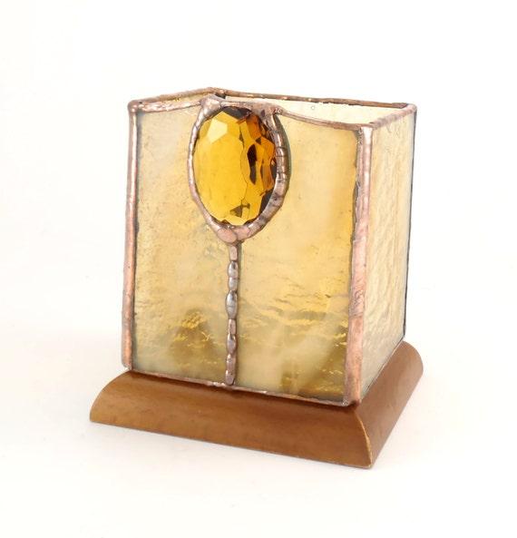Amber Votive Candle Holder - Sparkle Crystal Gem - Stained Glass Tea Light Holder - Hostess Gift - Rustic Tabletop Decor - Wooden Base