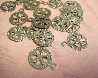 30pc 15mm antique bronze finish iron pendants-7183