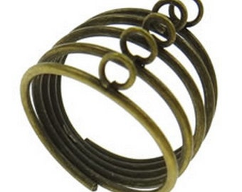 6 pc antique bronze with Loop Ring Base-8464