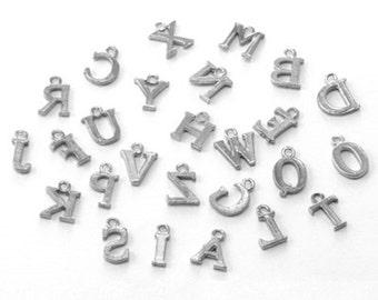 1 Set 26 Alphabet Letters Platinum Look Charm Pendant-8617