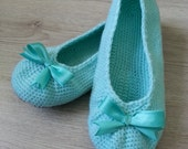 FREE SHIPPING Crochet Light Blue Ballets With a Bow, Double Sole