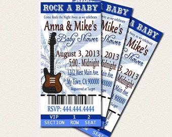 Rock and Roll Theme Baby Shower Printable Ticket Invitations, Printable Photo Card, DIY Baby Shower Ticket Cards