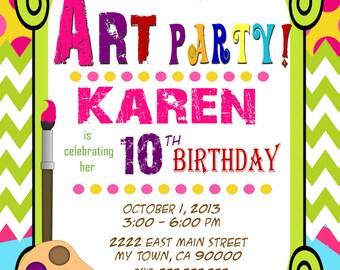 Art Party Invitation - Art Birthday - Paint Party - Printable Party - girl birthday - Boy birthday