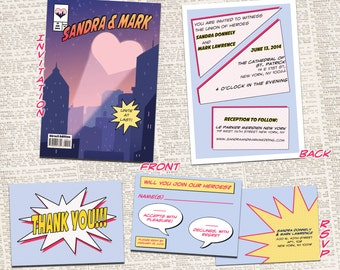 Comic Book Wedding Invitation Bundle // DIGITAL FILES - Superhero Wedding // Printable Invites // Geeky Wedding // Superhero Wedding