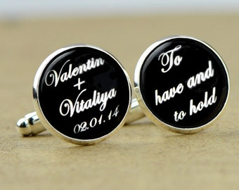 Custom Cuff Links, Personalized father of the bride wedding date cufflinks, Wedding cuff links, Groom cuff links, bestman cuff links