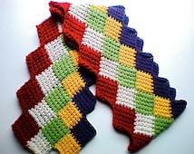 Crochet Entrelac Scarf Red Beige Gold Purple Tunisian Crochet
