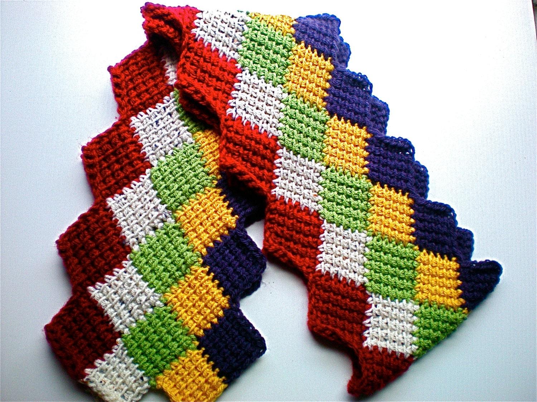 Crochet entrelac scarf red beige gold purple tunisian crochet zoom bankloansurffo Gallery