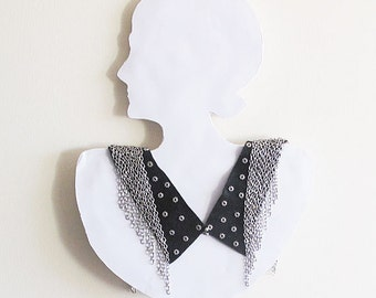 Black Collar Necklace, Fringed Chain  Bip Statement Jewelry, Collar Jewelry, Women's Fashion, Accessories