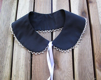 Black Detachable Peter pan collar, collar necklace, black taffeta, Beadwork,  Women Accessories, Christmas Gifts