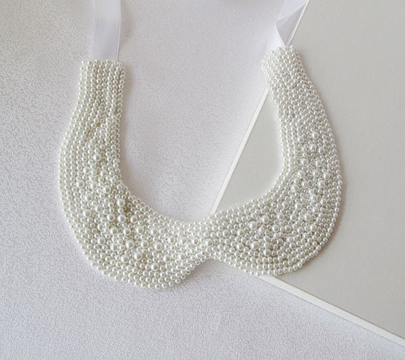 Peter Pan Collar Necklace, White Glass Pearl Embroidery Peter Pan Collar    (1940s-1950s)-Col Claudine