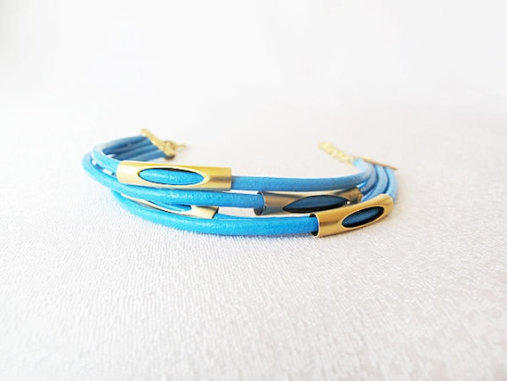 Turquoise Leather Rope Bracelet, Leather Rope Jewelry, Summer Bracelet, Gold, Blue, Jewelry