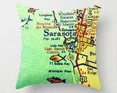 Sarasota Florida Map Pillow Cover, Sarasota Beach House Pillow, Kids Room Map Pillow, Sarasota Gift, Throw Pillow, Lido Longboat Siesta Key