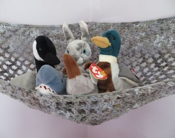 Crochet toy net hammock in gray shades, stuffed animal storage for boys or girls room MADE TO ORDER