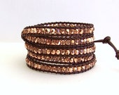 Leather Wrap Bracelet - Metallic Rose Gold, Brown Leather - Bohemian Chic