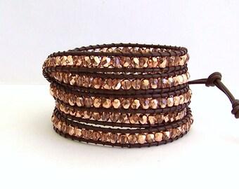 Leather Wrap Bracelet - Metallic Rose Gold, Brown Leather - Bohemian Chic