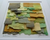 Original Torn Paper Collage Created From Hand Painted Mulberry Paper in Shades Of Green Orange Yellow and Brown