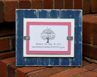 Picture Frame - Distressed Wood - Holds a 4x6 Photo - Double Mats - Navy Blue, White & Pink