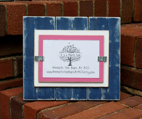 picture frame distressed wood holds a 4x6 photo double mats navy blue white pink from. Black Bedroom Furniture Sets. Home Design Ideas
