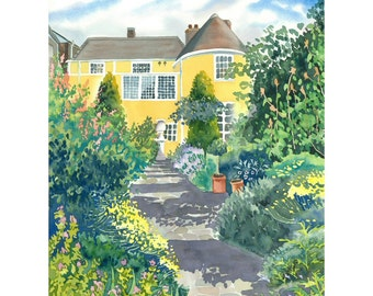 Garden Painting Limited Edition Giclee Print of Gainsborough's House, Sudbury, England