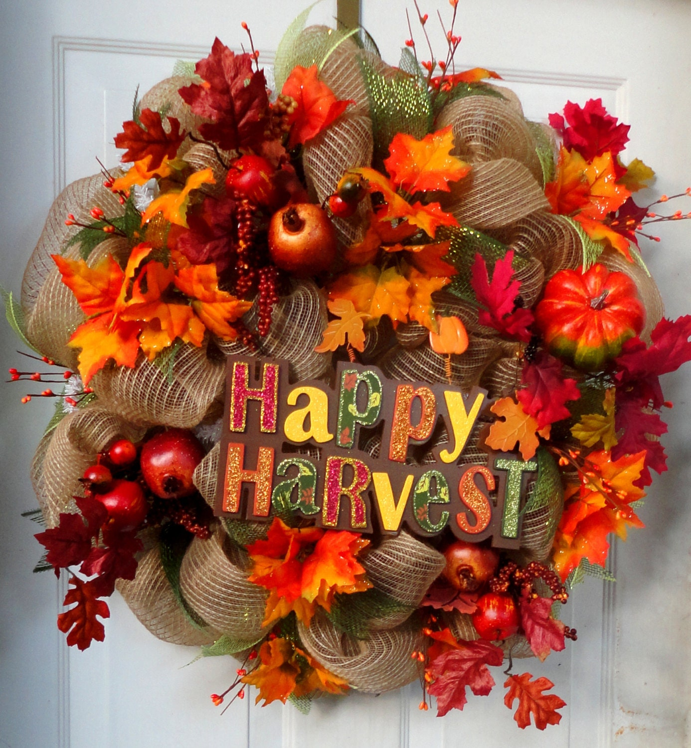 ONE LEFT Fall Deco Mesh Wreath Autumn Wreath Fall Wreath