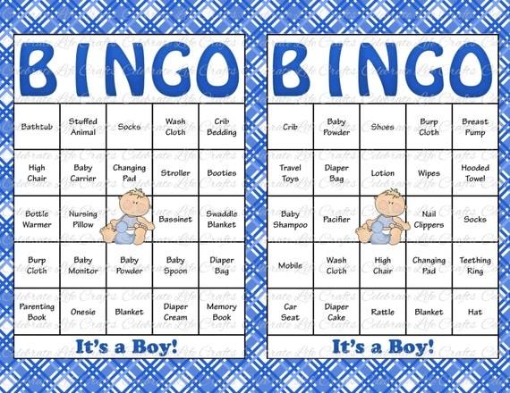 30 Baby Shower Bingo Cards - DIY Printable Party for Baby Boy ...
