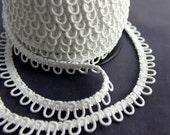 White Elastic Bridal Button Loops