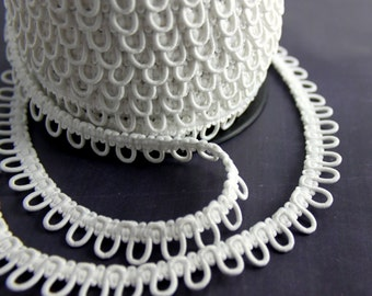 White Elastic Bridal Button Loops