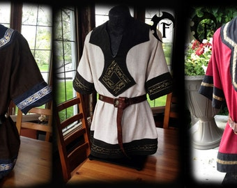 Customizable viking tunic,medieval,fantastic,trim, larp, clothing