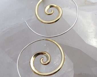 Spiral Earrings - Brass with Sterling Silver