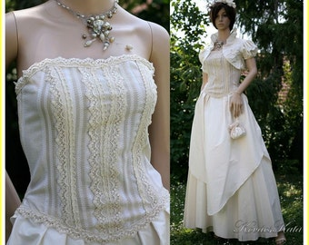 Vintage-style Elegant 3 Parted 100% Silk Wedding Gown with Linen Bodice OOAK - Maya
