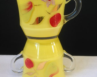 Bartett Collins - Cream and Sugar Bowl Set - Hand Painted - Yellow with Fruit