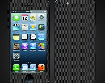 iPhone 5 Skin Decal vinyl wrap - Carbon Fiber print graphite - Free Shipping - NOT a HARD CASE