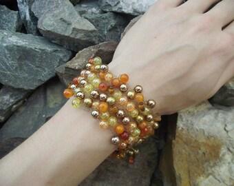 Autum Gold and Orange Beaded Bracelet