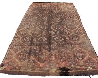 "Vintage Handwoven Wool Rug - Handmade Turkish Decorative Kilim Rug - 63""X114"" - Bohemian Home Decor - Antique Kilim Rug -"