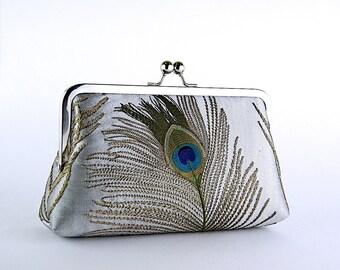 Bridesmaid Clutch, EllenVintage Silk Peacock Clutch, Wedding clutch, Bridal clutch, Bridesmaid luxury gift