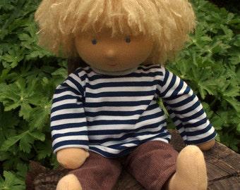 "14"" Waldorf doll, blond boy, blue eyes ( made to order )"
