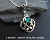 Birthstone Crystal Celtic Knot Necklace - You Choose the Crystal Color of Choice