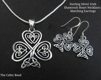 Sterling Silver Celtic Shamrock Heart Necklace & Matching Earring Set