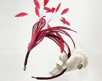 Red Sinamay & Feather Headdress by Basia Zarzycka