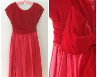 Vintage Red Dress / XSmall/Small / Tie me up in Bows