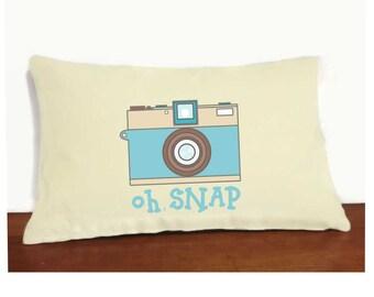 Camera Pillow Cover and Insert, Oh Snap Pillow Cover, Vintage Camera Pillow, Retro Camera Pillow, Old Camera Pillow, Camera Art