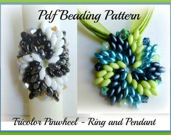 Tutorial Ring and Pendant Superduo - Twin Beads - Pdf Beading Pattern