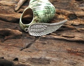 2 pcs - findings - supplies - supply -polished stone- silver plated - angel wing- necklace - earrings.