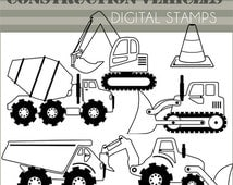 Construction Vehicles Clip Art -Personal and Limited Commercial- Dump Truck, Bulldozer Black Line Art
